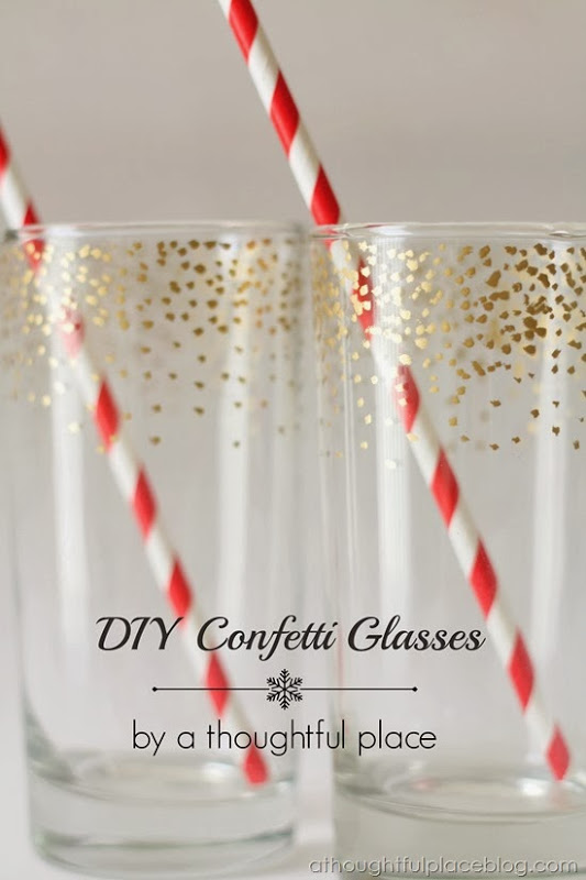 DIY Gold Confetti Dot Glass | 25+ New Year's Eve Party Ideas