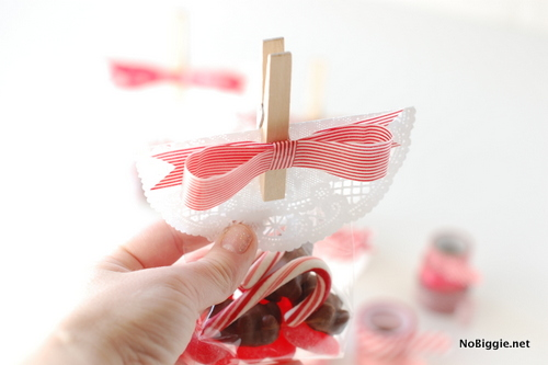 How to make a washi tape bow clothes pin treat bag topper | NoBiggie.net