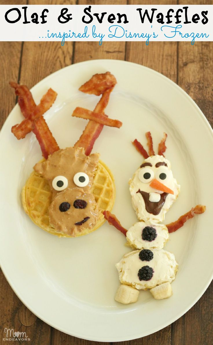 Olaf and Sven Waffles Inspired by Disney's Frozen 25+ Fun Christmas Breakfast Ideas for Kids | NoBiggie.net
