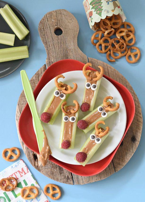 Peanut Butter Celery Reindeer Snack