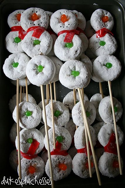 Snowman on a Stick Donut Snowman 25+ Fun Christmas Breakfast Ideas for Kids | NoBiggie.net