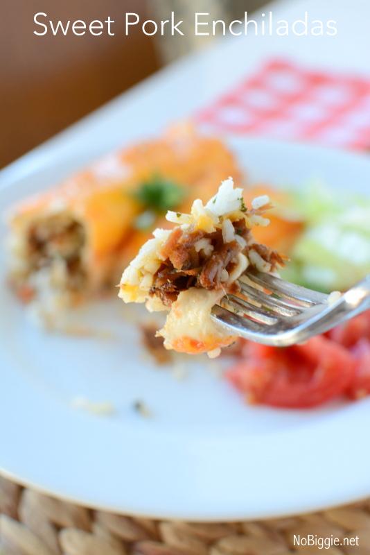 Sweet pork enchiladas | 25+ Slow Cooker Recipes Kids Love | NoBiggie.net