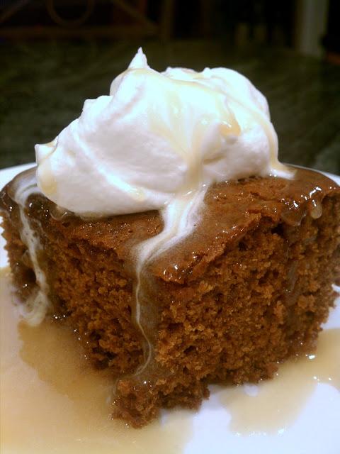 Warm Gingerbread Cake With Homemade Caramel Sauce