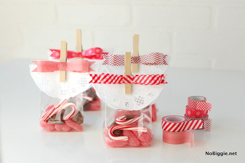 Washi Tape Bow gift bag toppers | NoBiggie.net