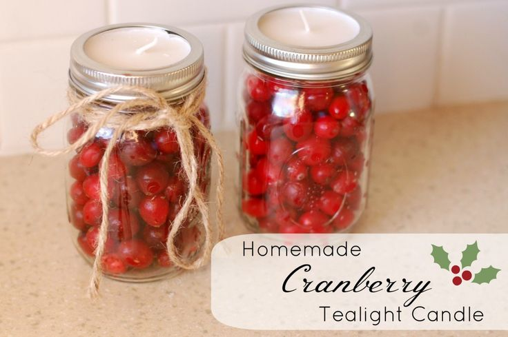 Homemade Cranberry Tea light Candle | 25+ Mason Jar Gift Ideas