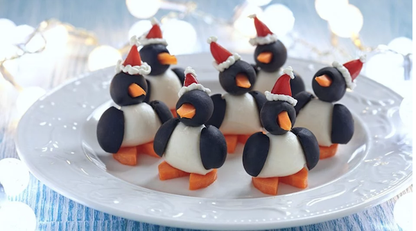 olive penguins with Christmas Hats | Healthy Holiday Snacks | NoBiggie.net