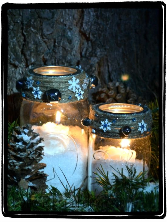 Snowy Mason Jar Winter Candle Craft | 25+ Mason Jar Gift Ideas