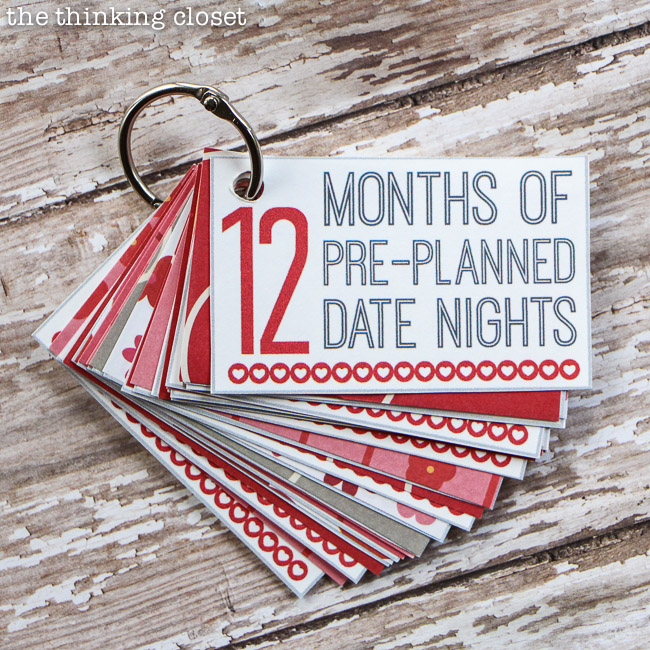 12 Months of Date Nights gift & free printable | 25+ Sweet Gifts for Him for Valentine's Day