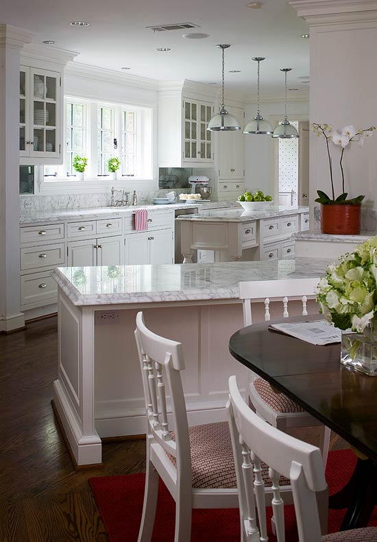 Kitchen design white cabinets stainless appliances ...