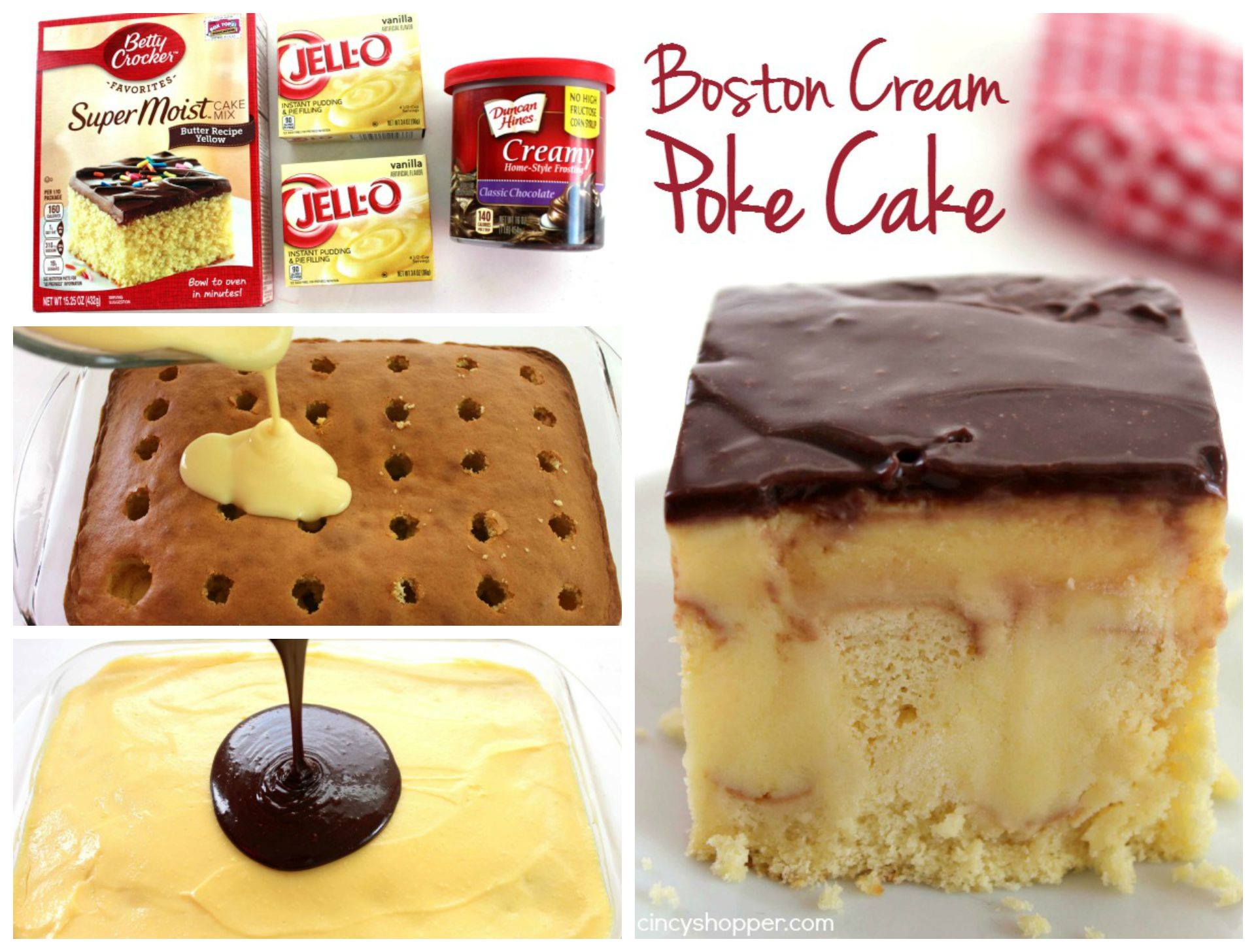 Boston Cream Poke Cake | 25+ chocolate lover dessert recipes