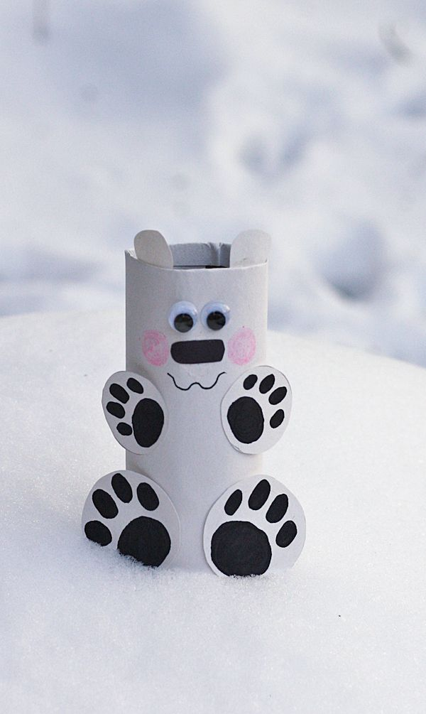 Cardboard Tube Polar Bear | 25+ Indoor Winter Activities for Kids