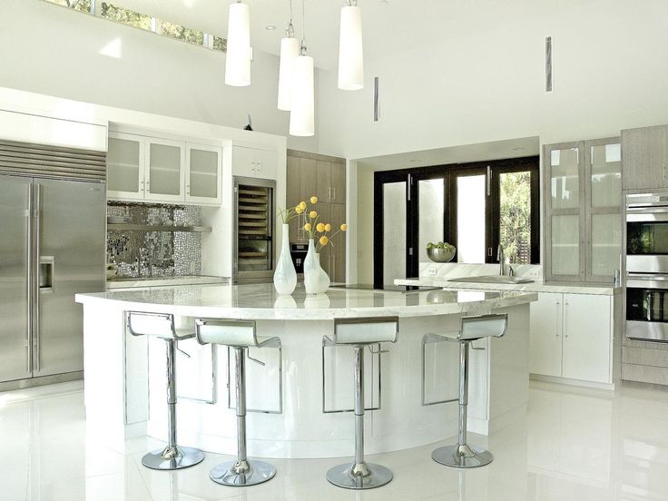 Contemporary White Kitchen with Eat-In Island | 25+ Dreamy White Kitchens