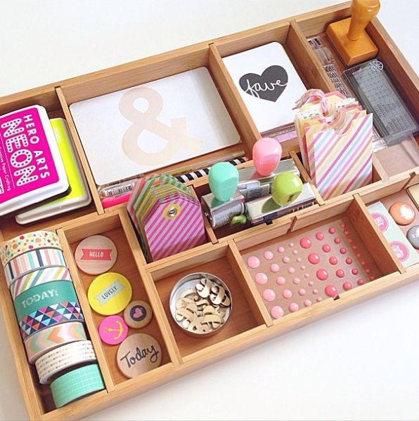 Craft Supply Organization Ideas with a Printer Tray | 25+ Unique Organization Ideas for Your Home | NoBiggie.net