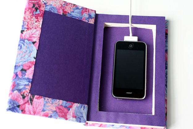 DIY Book Cell Phone Charging Station | 25+ Home Organization ideas