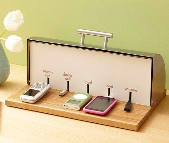 DIY Breadbox Charging Station | 25+ Home Organization ideas