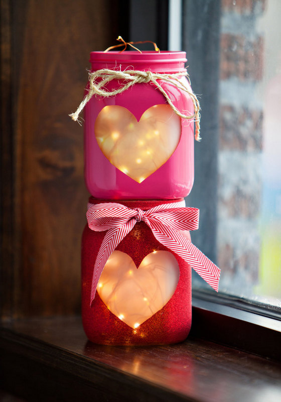 diy valentines day heart jars