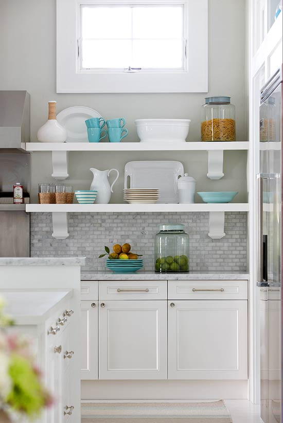 Exposed storage in the kitchen | 25+ Dreamy White Kitchens