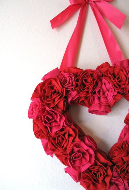 Fabric flower valentine wreath