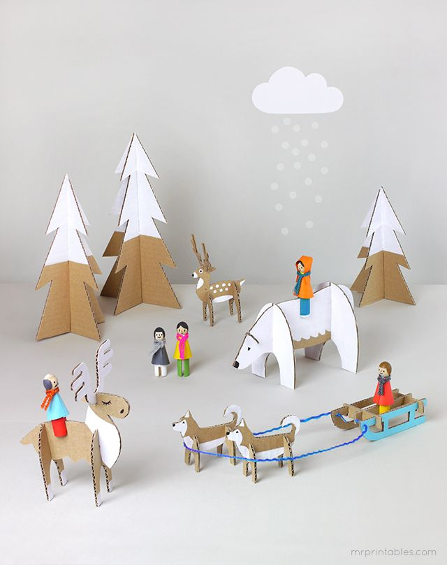 Free Printable Animal and Winter Wonderland Scene | 25+ Indoor Winter Activities for Kids