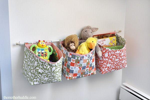 Hanging Fabric Baskets | 25+ Home Organization ideas