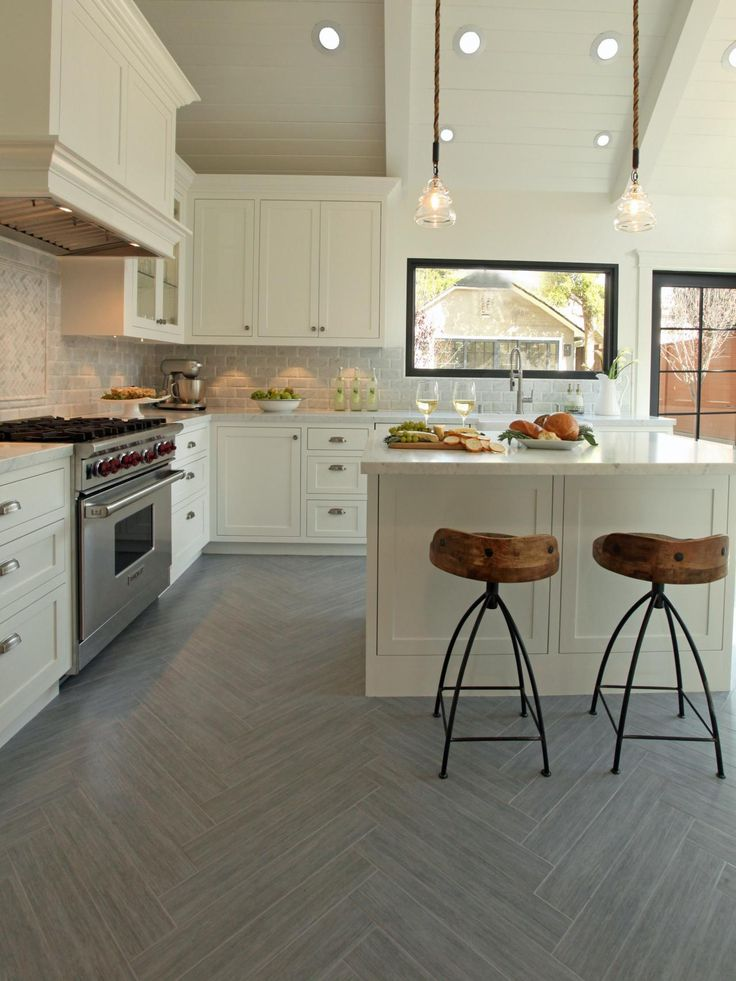 Neutral Kitchen With Gray Herringbone-Patterned Flooring | 25+ Dreamy White Kitchens