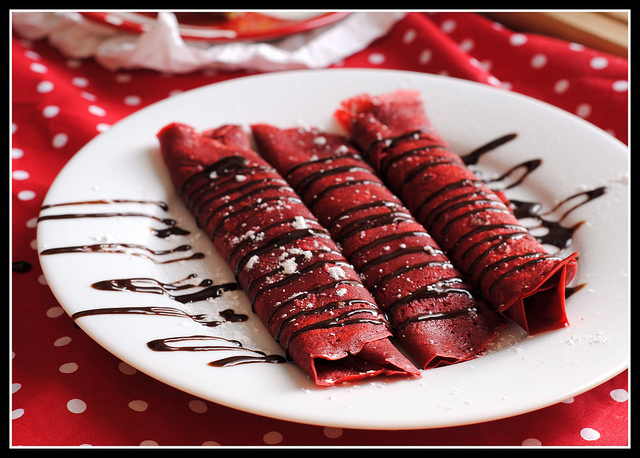 Red Velvet Crepes with Sweet Cream Cheese Filling | 25+ Red Velvet Recipes
