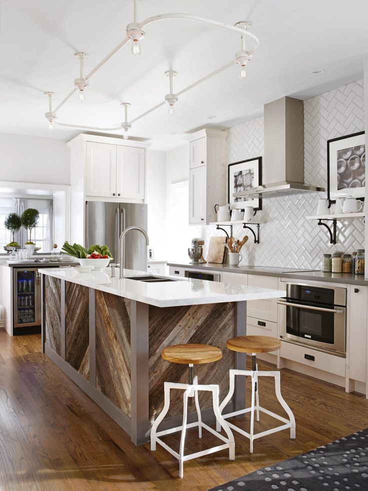 Rustic Island in White Transitional Kitchen | 25+ Dreamy White Kitchens