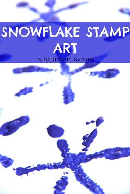 Snowflake Stamp Art | 25+ Indoor Winter Activities for Kids