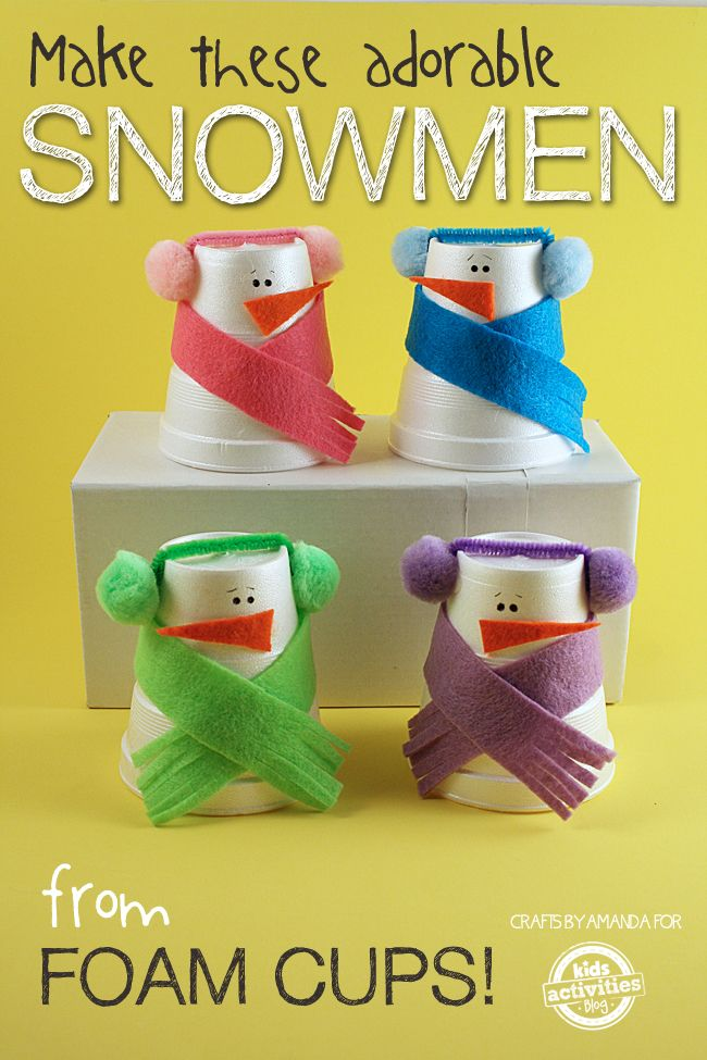 Snowman Craft from Foam Cups | 25+ Indoor Winter Activities for Kids