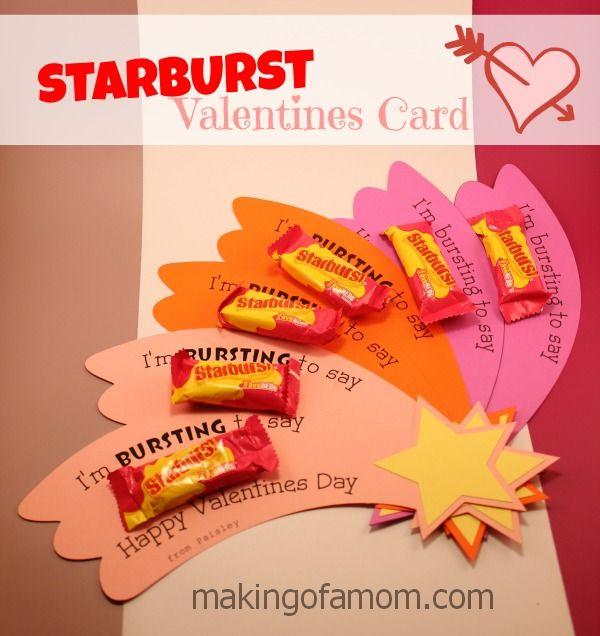 Starburst Valentine's Day Card - 25+ Creative Classroom Valentines - NoBiggie.net