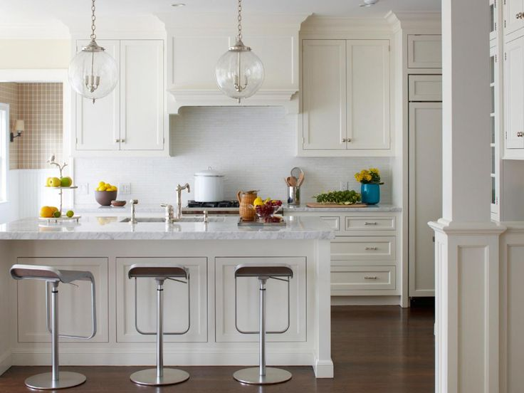 Tranquil White Kitchen With Polish Nickel Bar Stools 25 Dreamy Kitchens