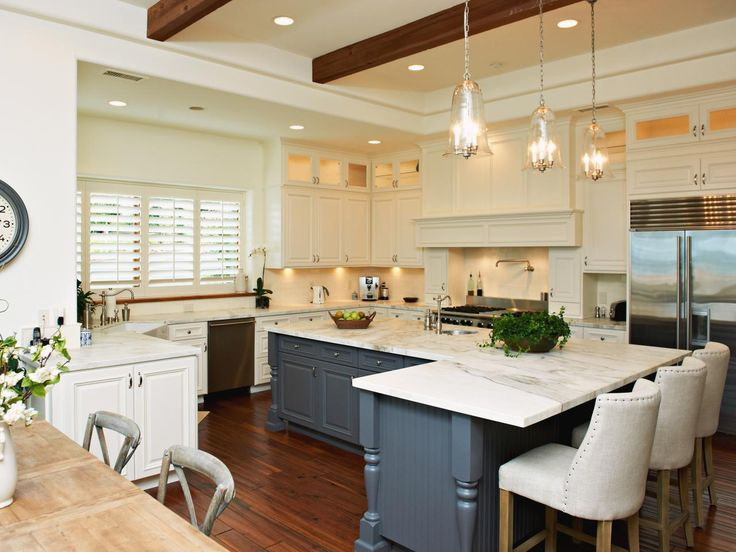 Transitional Kitchen With Blue Island  25+ Dreamy White Kitchens