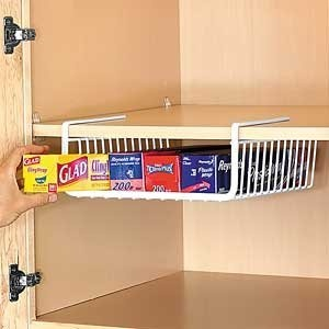 Under shelf hanging basket for food wraps | 25+ organization ideas for the home