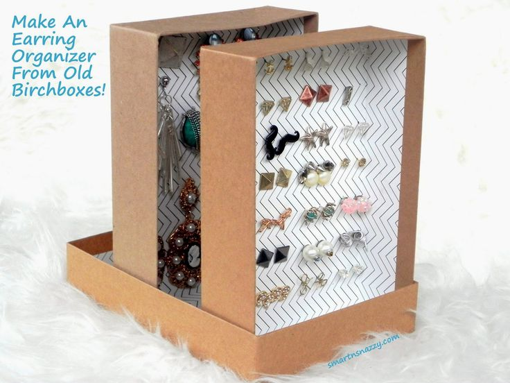 Upcycled Birch boxes into Earring Organizer | 25+ Home Organization ideas
