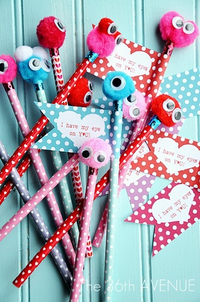 Valentine monster pencils- 25+ Creative Classroom Valentines - NoBiggie.net