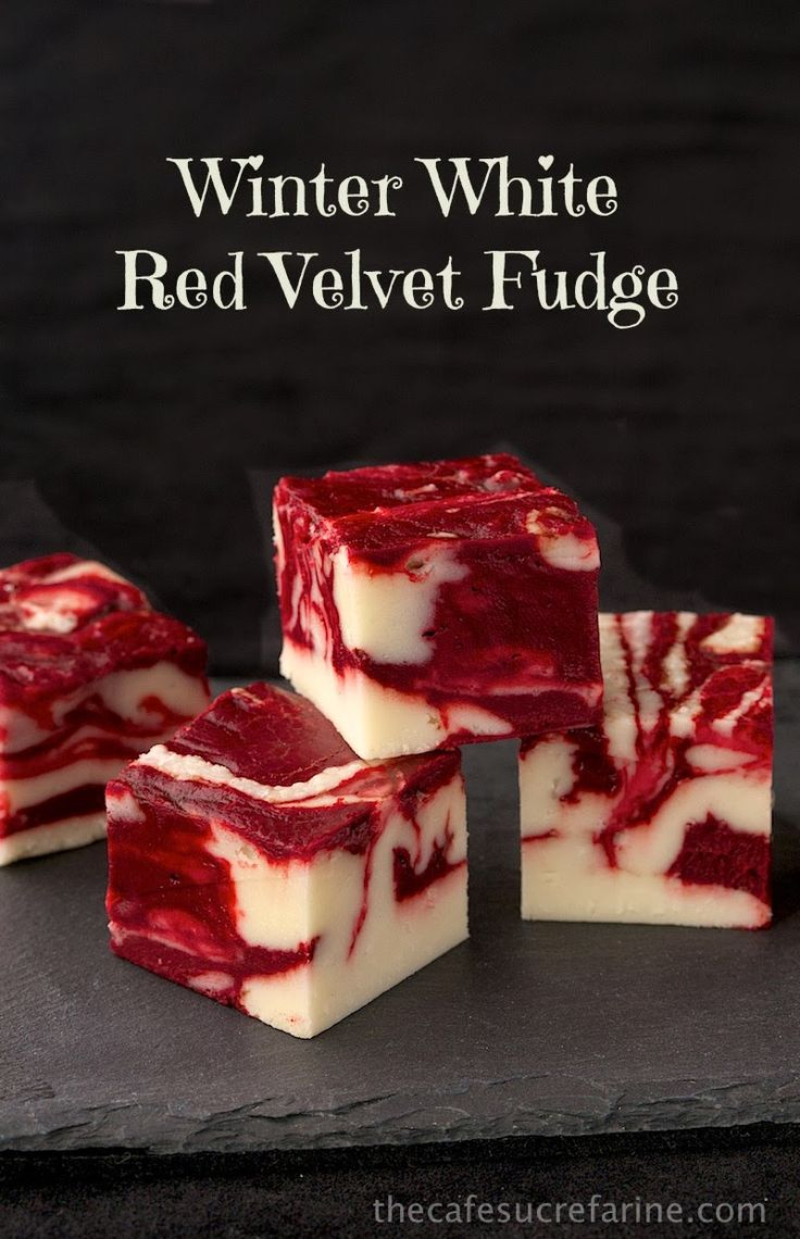 Winter White Red Velvet Fudge | 25+ Red Velvet Recipes