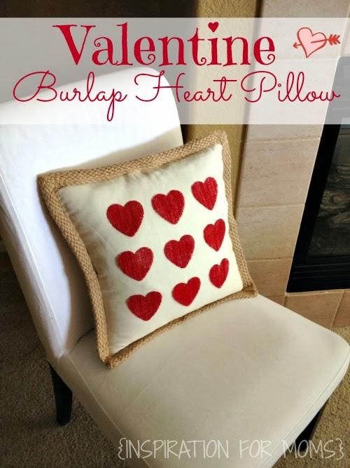 no-sew burlap valentine heart pillow