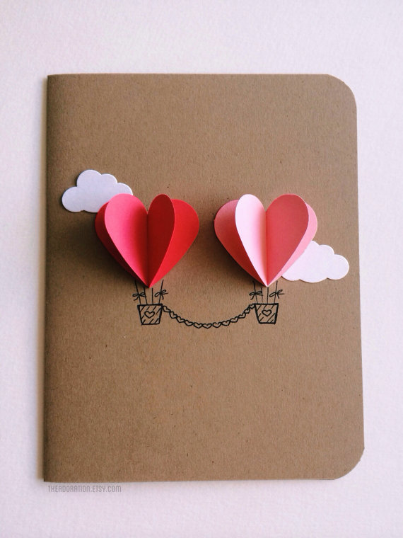 Card Making Craft Ideas Part - 50: Couple Heart Hot Air Balloon Card