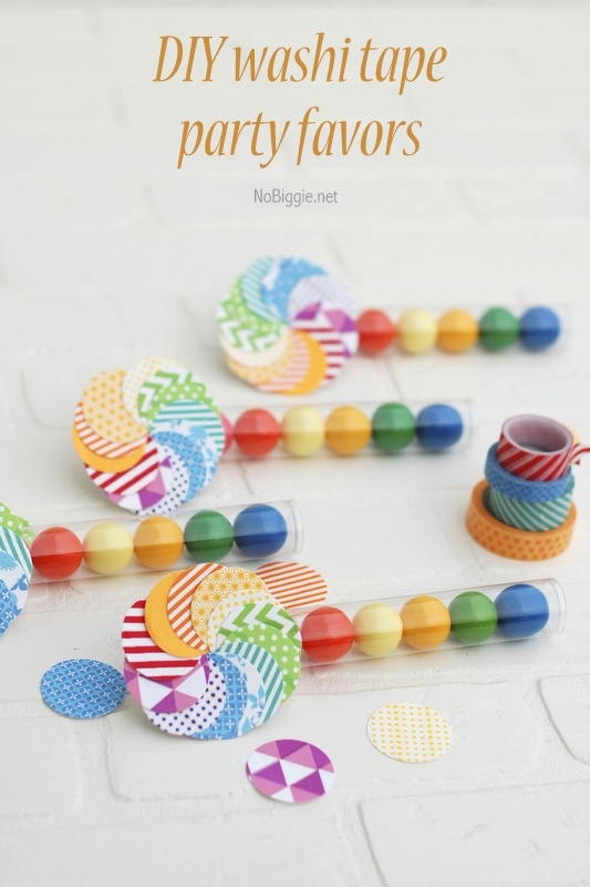 DIY washi tape party favors | NoBiggie.net | these would be so fun for a rainbow party!