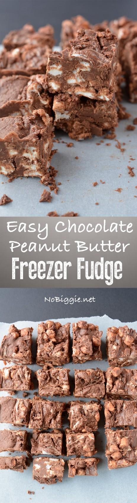 Easy Chocolate Peanut Butter Freezer Fudge | NoBiggie.net