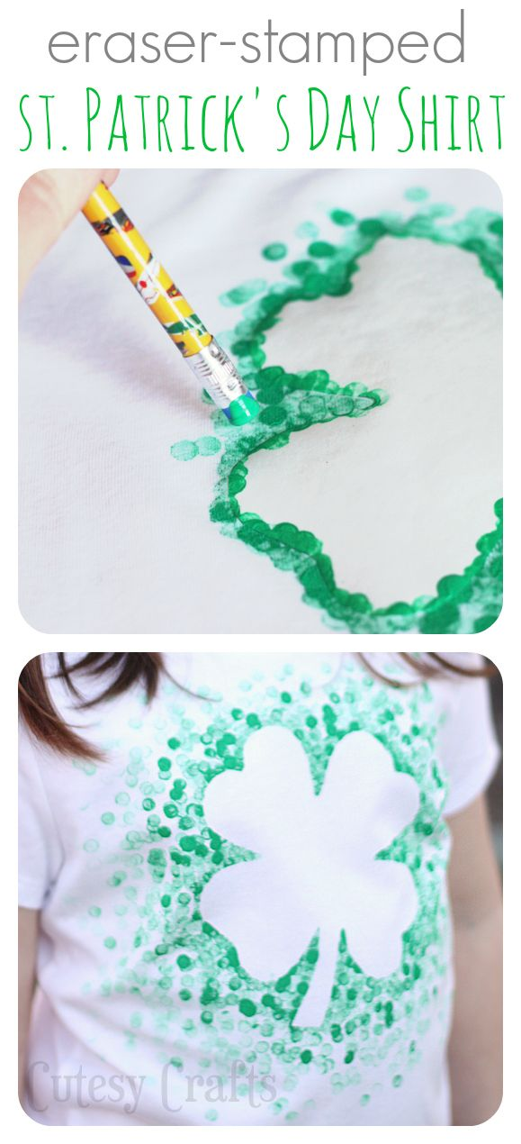 Eraser Stamped St. Patrick's Day Shirt | 25+ St. Patrick's Day ideas