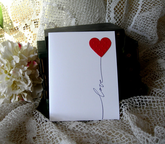 love heart balloon card