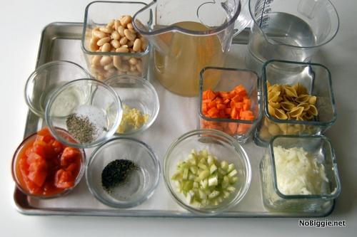 Ingredients for easy Minestrone Soup | NoBiggie.net