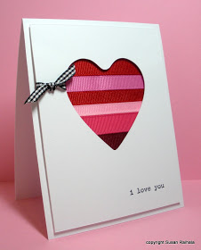 Ribbon scrapes heart card