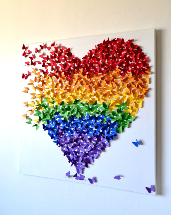 LARGE 3D Butterfly Wall Art in Rainbow Colors | 25+ Rainbow crafts, food and more