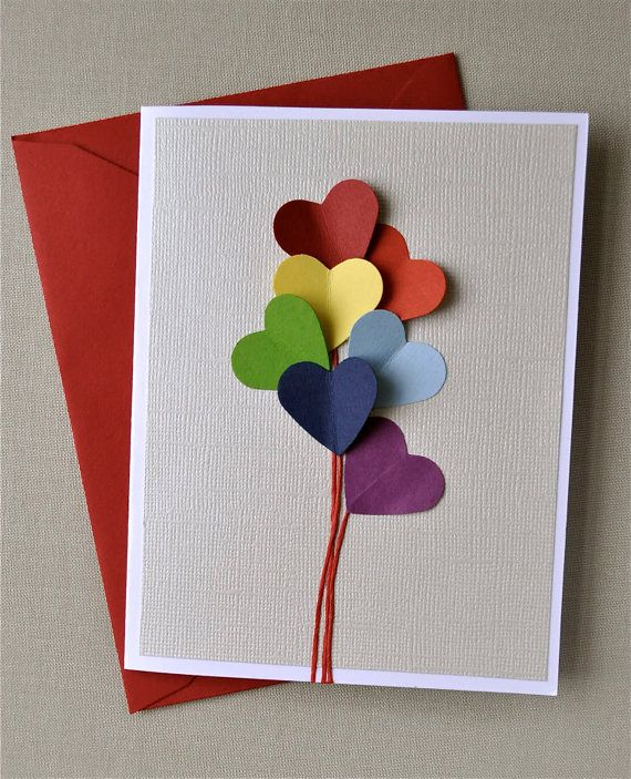 Love is in the air, rainbow heart balloon, blank card | 25+ Rainbow crafts, food and more