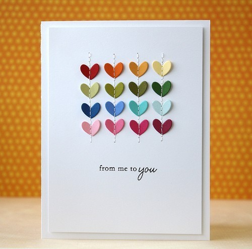 25 easy diy valentines day cards stitched hearts card solutioingenieria Image collections
