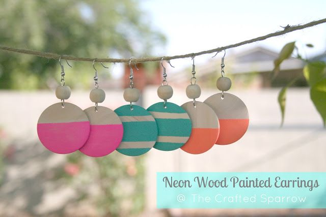 Neon Wood Painted Earrings | 25+ Inexpensive DIY Birthday Gift Ideas for Women