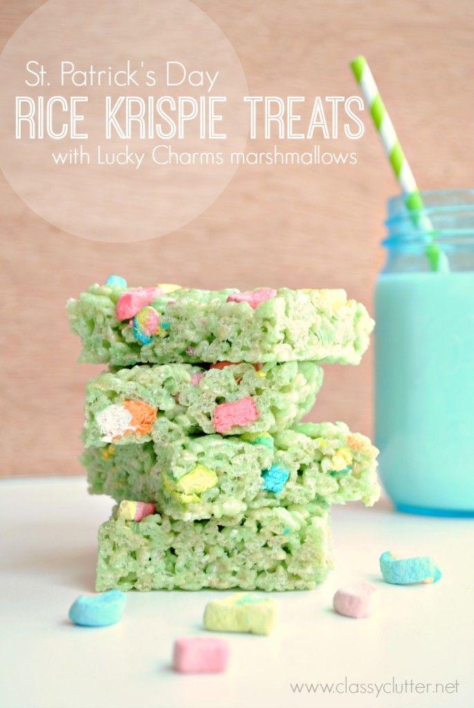 St. Patrick's Day Rice Krispie Treats | 25+ St. Patrick's Day ideas
