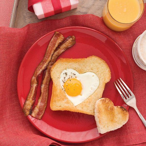 egg in a heart shaped hole | 25+ Heart Shaped Foods